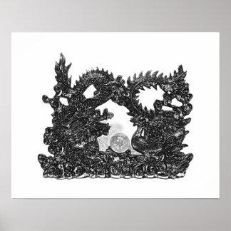 Feng Shui Dragon & Phoenix - B&W Poster