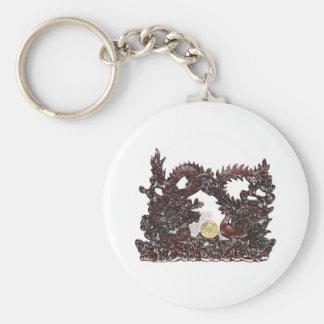 Feng Shui Dragon & Phoenix Basic Round Button Keychain