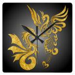 Feng Shui Golden Phoenix & Dragon Clock - black