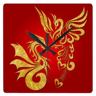 Feng Shui Golden Phoenix & Dragon Clock - red