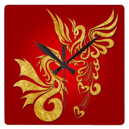 Feng Shui Golden Phoenix & Dragon Clock