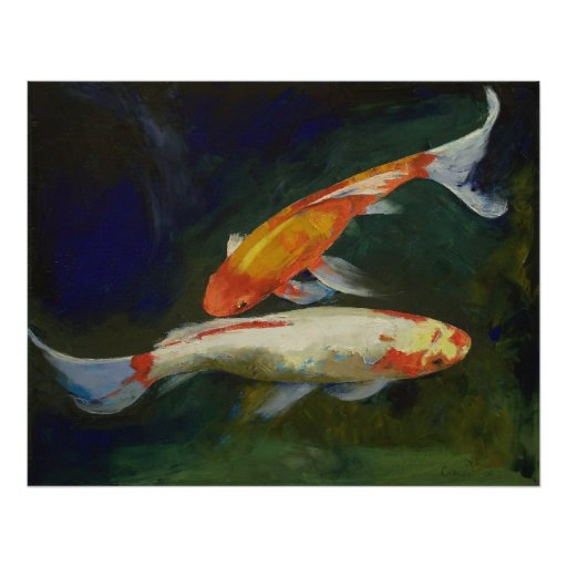 Feng shui koi fish print zazzle for Koi fish art print