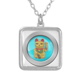 Feng Shui Lucky Cat Charm Jade Background Pendant