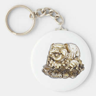 Feng Shui Pig Basic Round Button Keychain