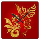 Feng Shui reloj de oro de Phoenix y del dragón - r