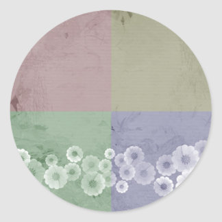 Feng Shui  Style with Flowers Classic Round Sticker