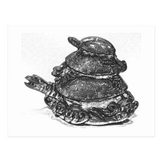 Feng Shui Triple Turtle - B&W Postcard