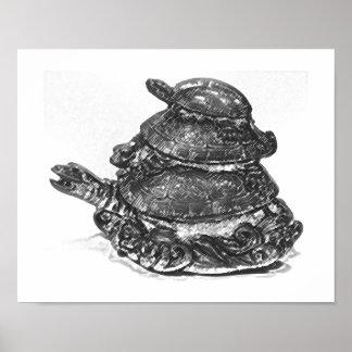 Feng Shui Triple Turtle - B&W Poster