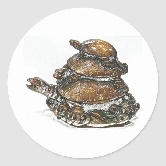 Feng Shui Triple Turtle - Gold Classic Round Sticker