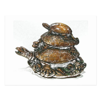 Feng Shui Triple Turtle - Gold Postcard