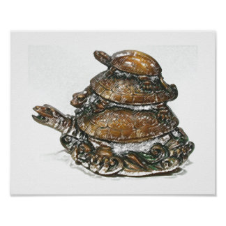 Feng Shui Triple Turtle - Gold Poster