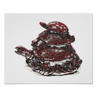 Feng Shui Triple Turtle - Red Poster