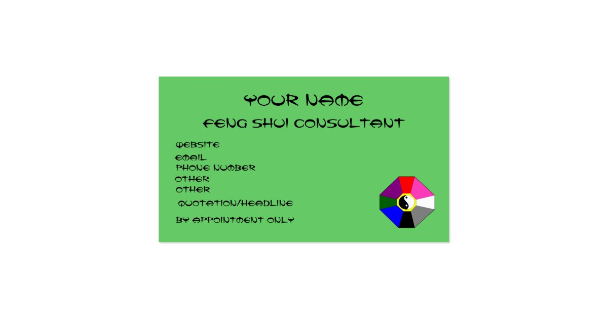 Feng shui version 1 business card template zazzle for Feng shui business cards