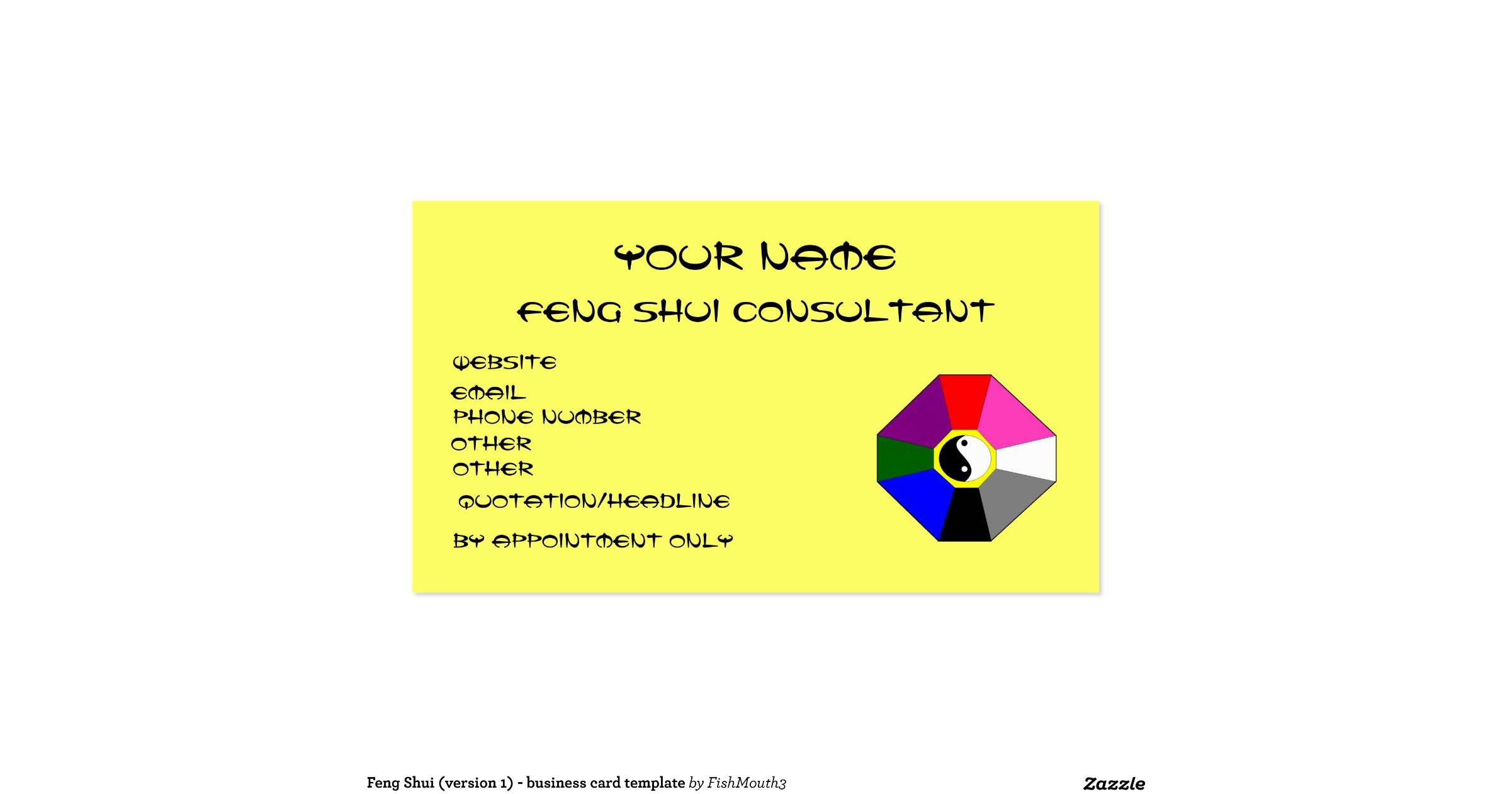 Feng shui version 1 business card template for Feng shui business cards