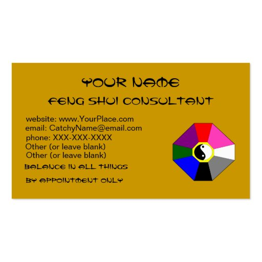 Feng shui version 2 business card template zazzle for Feng shui business cards