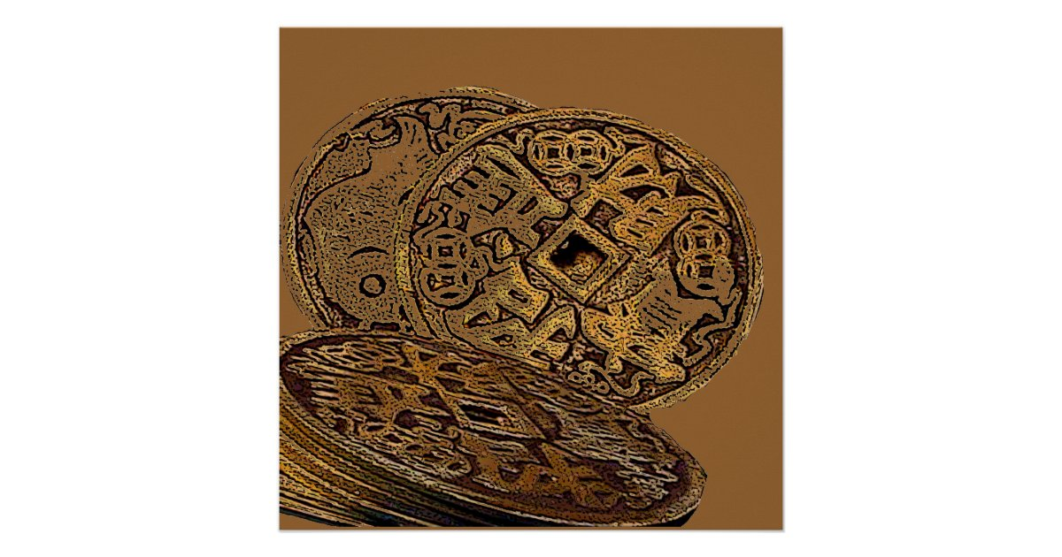 Feng shui wealth coins poster zazzle for Posters feng shui