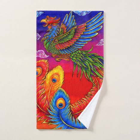 Fenghuang Chinese Phoenix Bird Bath Towel Set