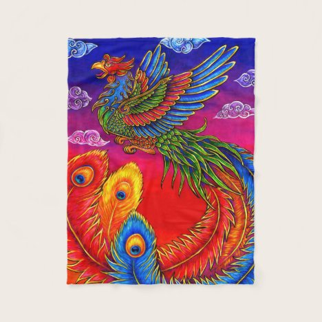 Fenghuang Chinese Phoenix Bird Fleece Blanket
