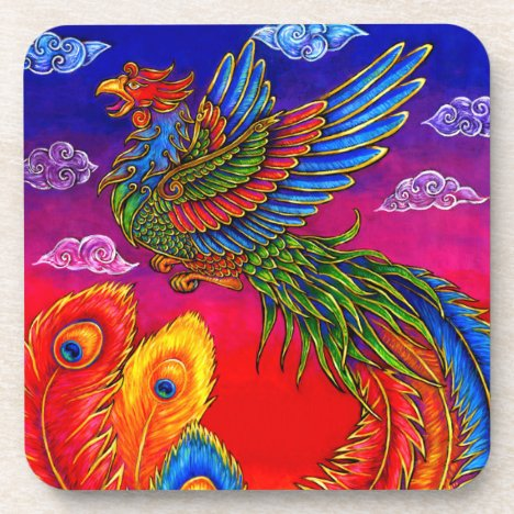 Fenghuang Chinese Phoenix Bird Plastic Coasters