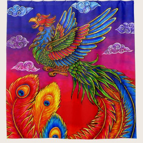 Fenghuang Chinese Phoenix Bird Shower Curtain