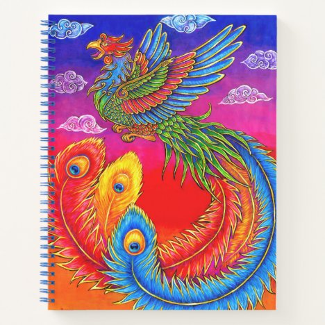 Fenghuang Chinese Phoenix Bird Spiral Notebook