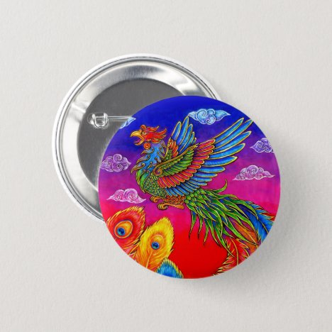 Fenghuang Chinese Phoenix Rainbow Bird Button