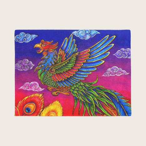 Fenghuang Chinese Phoenix Rainbow Bird Door Mat