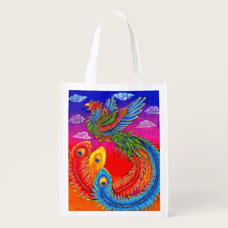 Fenghuang Chinese Phoenix Rainbow Bird Grocery Bag