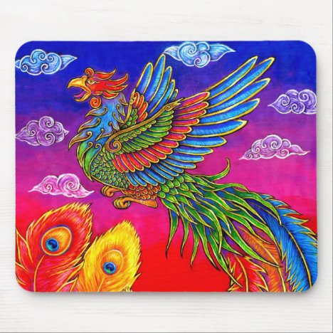 Fenghuang Chinese Phoenix Rainbow Bird Mouse pad