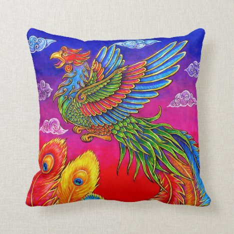 Fenghuang Chinese Phoenix Rainbow Bird Pillow