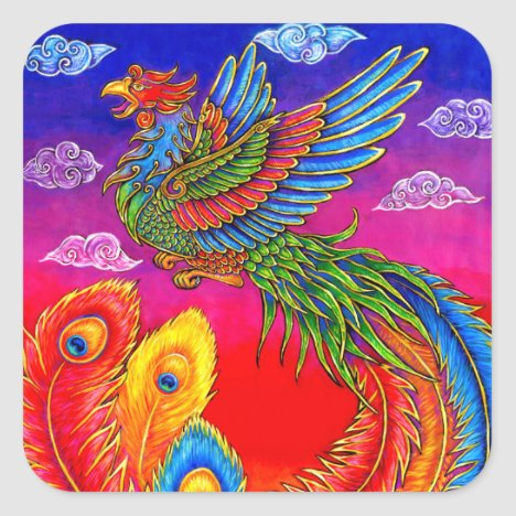 Fenghuang Chinese Phoenix Rainbow Bird Stickers