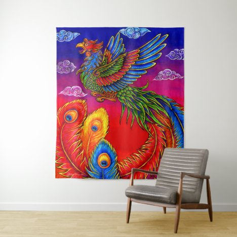 Fenghuang Chinese Phoenix Rainbow Bird Tapestry