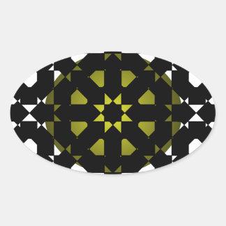 Fengshui - Designer New Olive Black & White Oval Sticker
