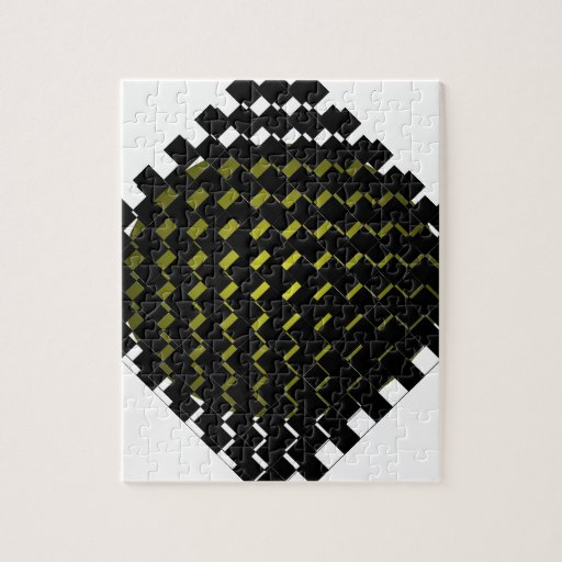 FengShui Fusion Army Green Black Geometric Hipster Jigsaw Puzzles