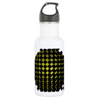 FengShui Fusion Army Green Black Geometric Hipster Stainless Steel Water Bottle
