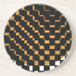 FengShui Fusion Gold Brown Black Geometric Hipster Beverage Coasters