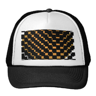 FengShui Fusion Gold Brown Black Geometric Hipster Mesh Hats