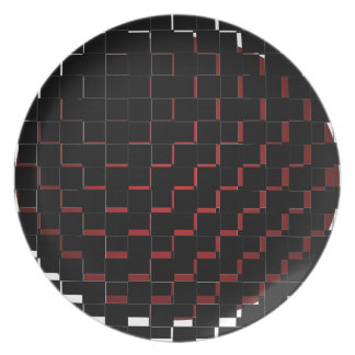 FengShui Fusion Red Black Geometric Hipster Plate