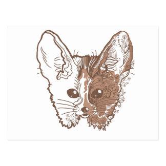 fennec fox face postcard