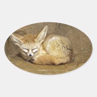fennec fox oval sticker