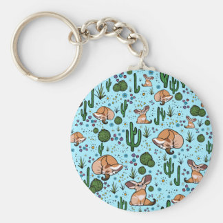Fennec Foxes in Blue Keychain