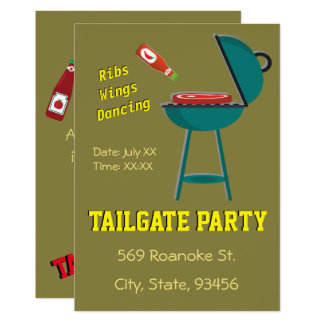 Fennel Tailgate Ribs Wings Dancing Khaki Party Card