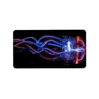 fenómeno ligero luminoso de las medusas frescas etiquetas de dirección