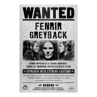 Fenrir Greyback Wanted Poster print