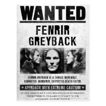 Fenrir Greyback Wanted Poster Postcard