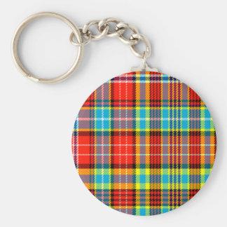 Fenton Scottish Tartan Basic Round Button Keychain