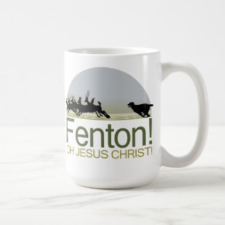 Fenton! the dog chasing deer in Richmond Park Coffee Mug