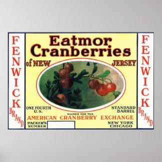 Fenwick Eatmor Cranberries Brand Label Poster