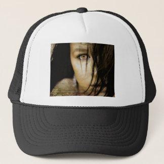 feral eyed brunette trucker hat