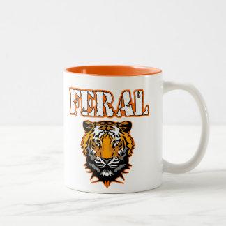 Feral Gear Designs - Feral Tiger Head Orange Two-Tone Coffee Mug